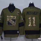 Men's Rangers #11 Mark Messier Army Green Throwback Stitched Ice Hockey Jersey
