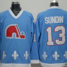 Men's Quebec Nordiques #13 Mats Sundin Blue Throwback Stitched Ice Hockey Jerseys