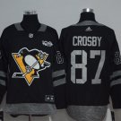 Men's Pittsburgh Penguins #87 Sidney Crosby 100th Anniversary Black Jersey