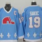 Men's Quebec Nordiques #19 Joe Sakic Blue Throwback Stitched Ice Hockey Jerseys