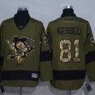 Men's Pittsburgh Penguins #81 Phil Kessel Army Green Stitched Ice Hockey Jerseys