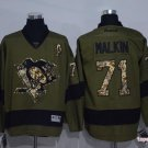 Men's Pittsburgh Penguins #71 Evgeni Malkin Army Green Stitched Ice Hockey Jersey