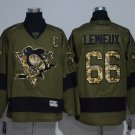 Men's Pittsburgh Penguins #66 Mario Lemieux Army Green Stitched Ice Hockey Jersey