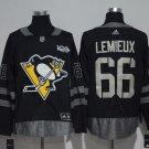 Men's Pittsburgh Penguins 66 Mario Lemieux 100th Anniversary Black Stitched Jersey