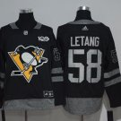 Men's Pittsburgh Penguins 58 Kris Letang 100th Anniversary Black Stitched Jersey