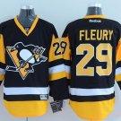 Men's Pittsburgh Penguins #29 Andre Fleury Black Throwback Stitched Jerseys