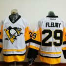 Men's Pittsburgh Penguins #29 Andre Fleury White Throwback Stitched Jersey