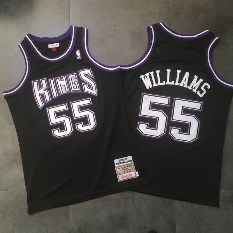 finest selection 49952 42b48 Men's Kings 55 Jason Williams Retro Top Quality Dense Embroidery Jersey  Black