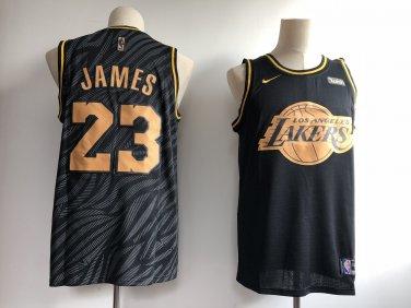 uk availability 6200f 71799 Men's Los Angeles Lakers #23 LeBron James Black Gold Basketball Jersey