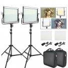 2 Sets LED Video Photography Photo Light with Tripod Bi-color 3200K-5600K CRI95