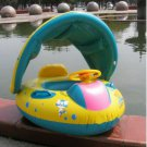 Inflatable Baby Float Seat Boat With Canopy Infant Baby Swimming Ring Pool Float
