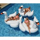 60 Inches Giant Inflatable Rose Gold Flamingo Swan Ride-on Pool Toy Swimming
