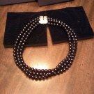 Gorgeous Elizabeth Taylor Avon Black Pearl Rhinestone Clasp 3 Strands Necklace