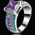 Purple Amethyst  Ring Lady's CZ 10KT White Gold Filled  Size 8