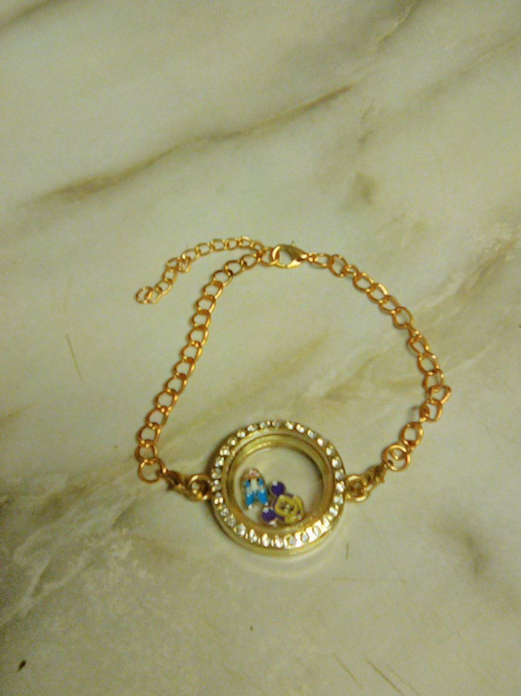 Living Memory Floating Charms Glass  Round Locket  Bracelet