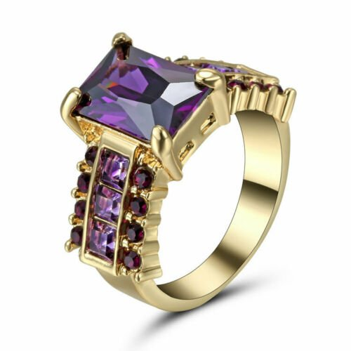 Size 8 Princess Cut Amethyst  Ring Women's Gold Rhodium Plated