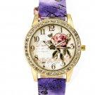 Women's Crystal Flower Rose Purple Leather Wrist Watch