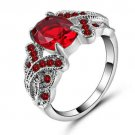 Red Garnet Ring Crystal 18Kt White Gold Filled Size 8