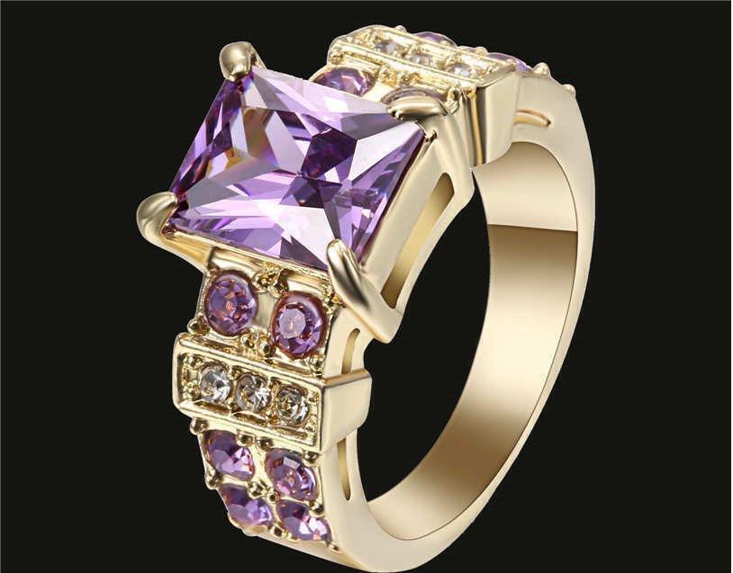 18k Yellow Gold Filled Amethyst Purple Size 8