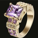 18k Yellow Gold Filled Amethyst Purple Size 8