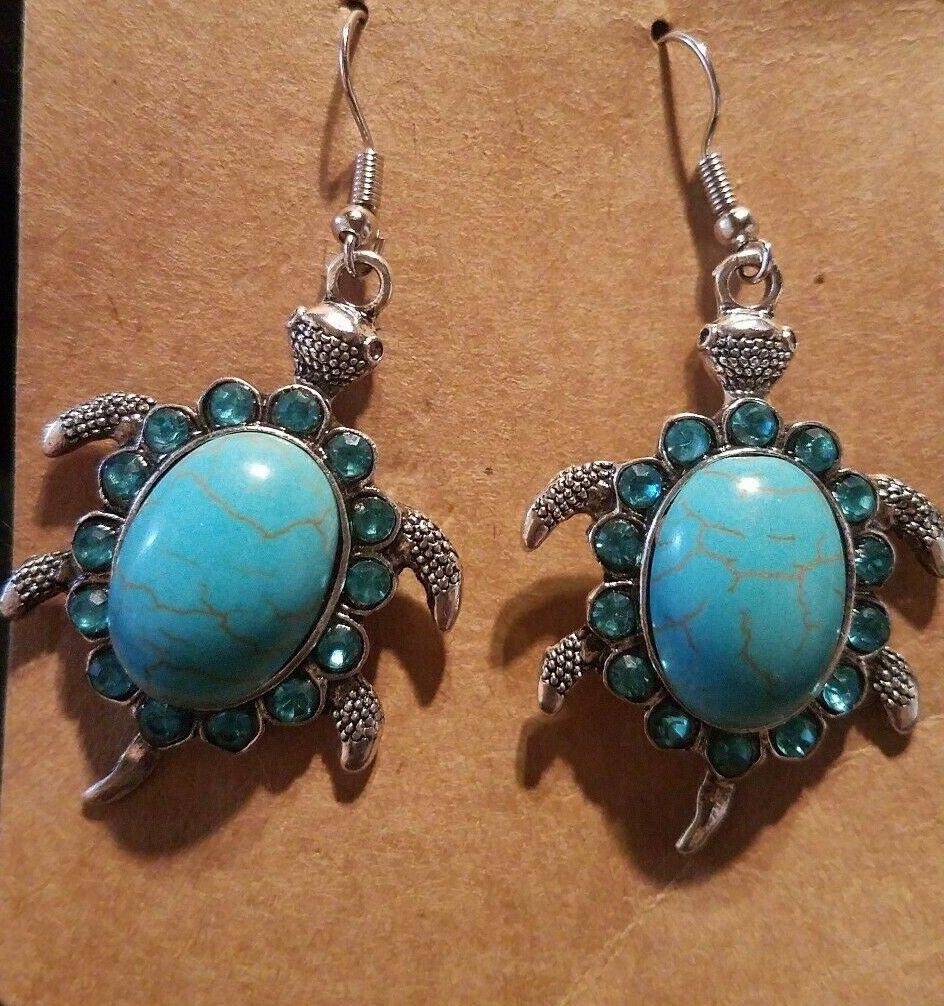 Blue Turquoise  Rhinestone Turtle Earrings