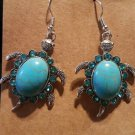Blue Turquoise  Rhinestone Turtle Earrings