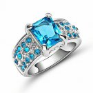 Blue Aquamarine 18K White Gold Filled  Ring  Size 8