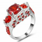 White Gold Filled Red Ruby  Ring  size 8