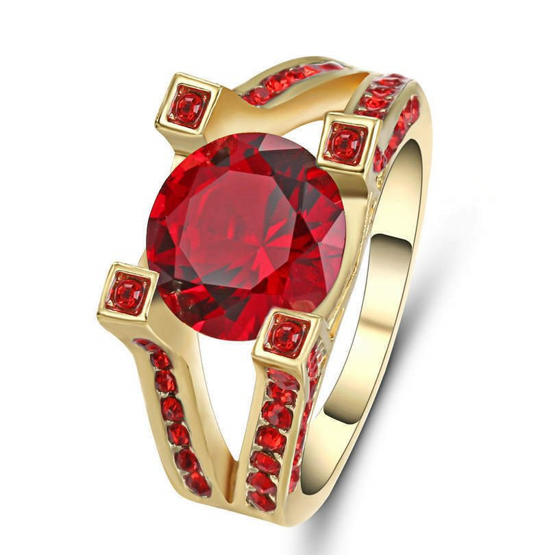 Ruby Red  Ring 14K Gold Filled Size 8