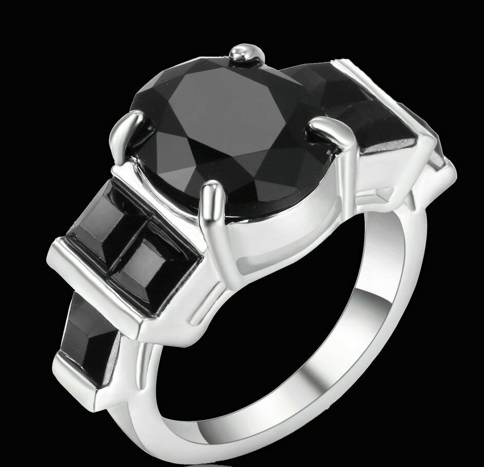 Round Black  Ring 10KT White Gold Filled  Size 6