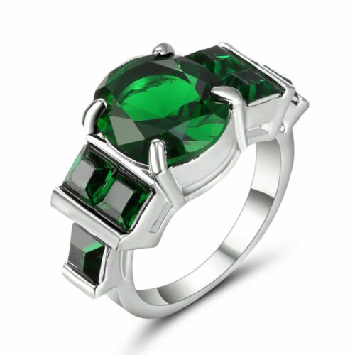 Green White  3 Stones Ring Size 6
