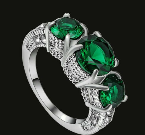 Green White Topaz 3 Stones Ring Size 6