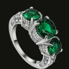 Green White Topaz 3 Stones Ring Size 6