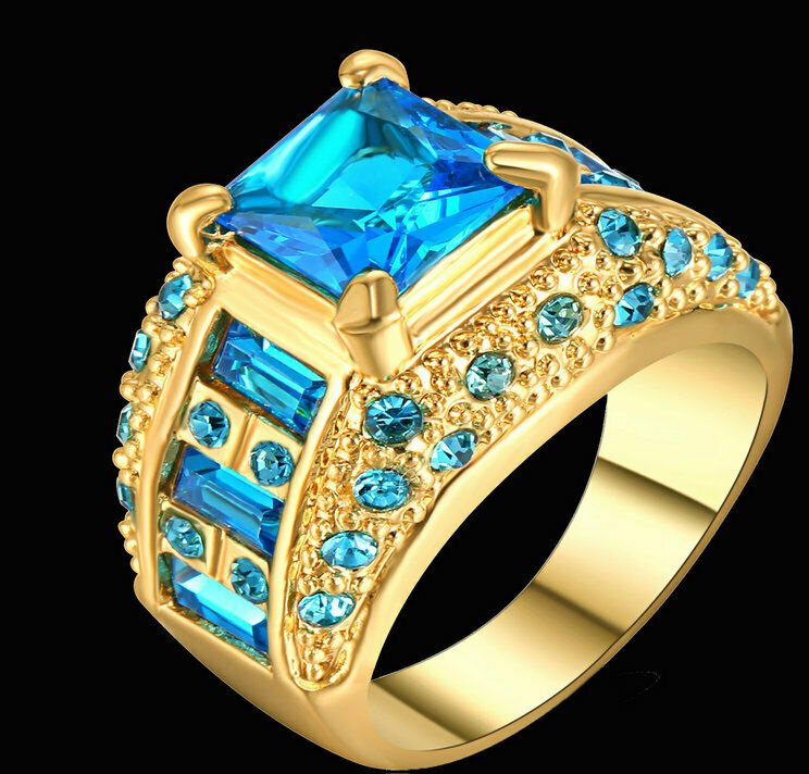 Sapphire Blue Princess Gold  Plated Size 9
