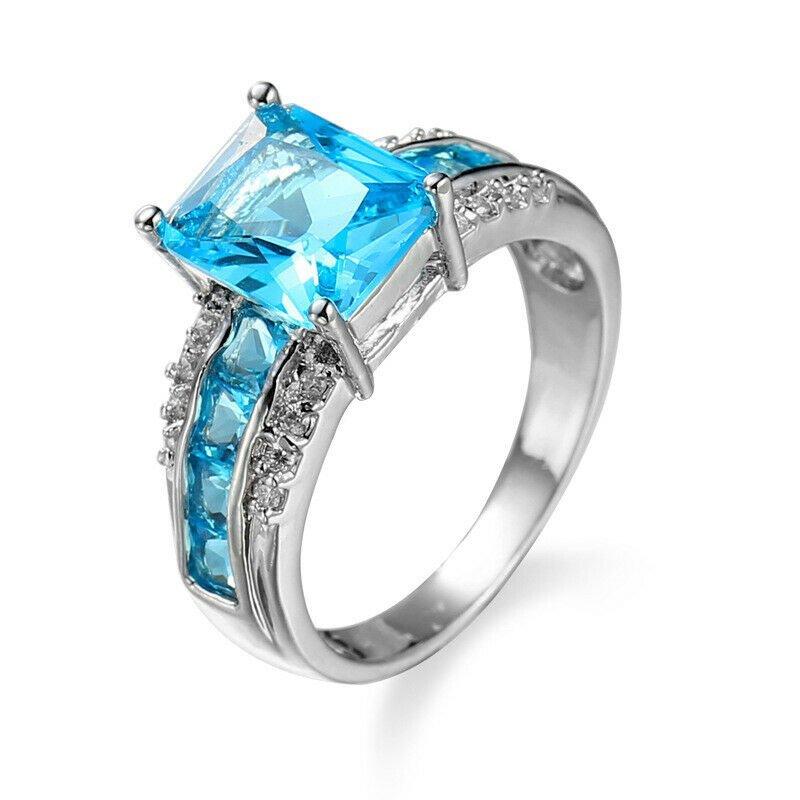Blue  18K White Gold Filled  Ring  Size 8