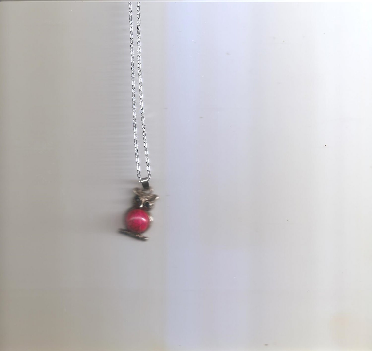 Red Stone Owl Necklace