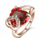 Rose Gold Filled Ruby Red Heart Ring Size 6