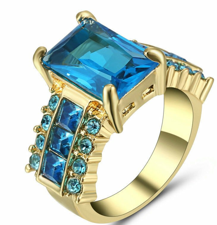 Blue Stone Gold Plated Ring Size 6