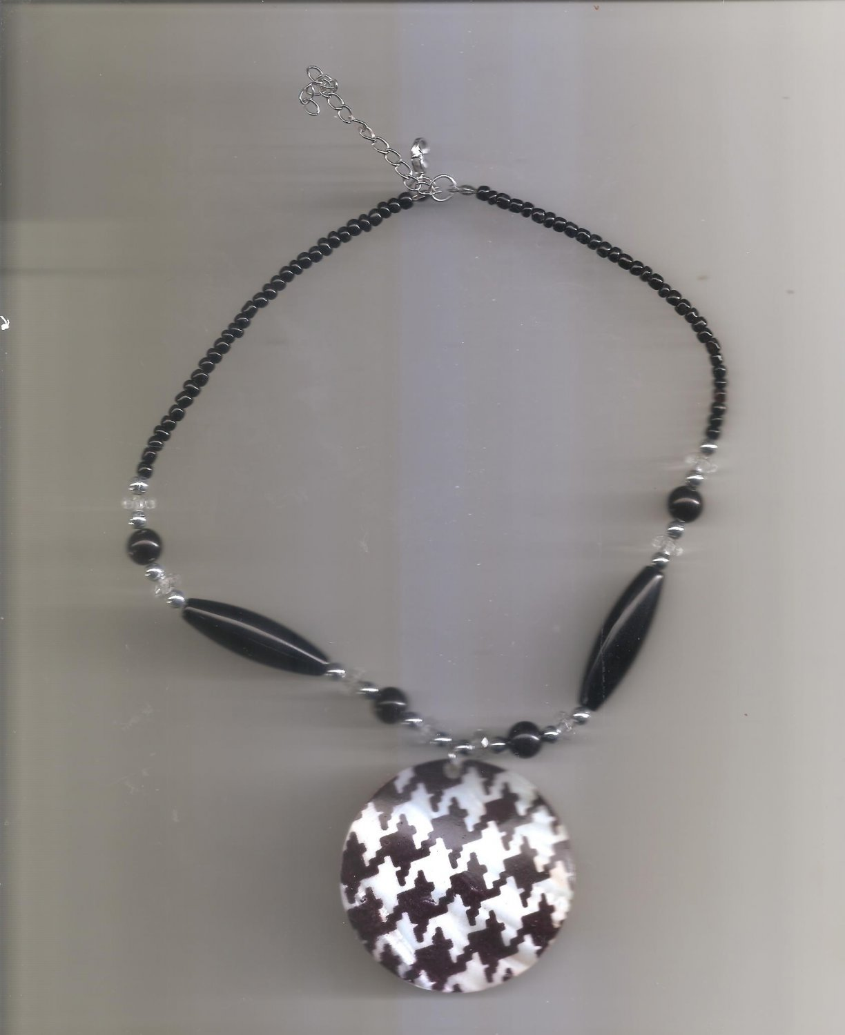 Black & White Large Beaded Necklace 16 inches long