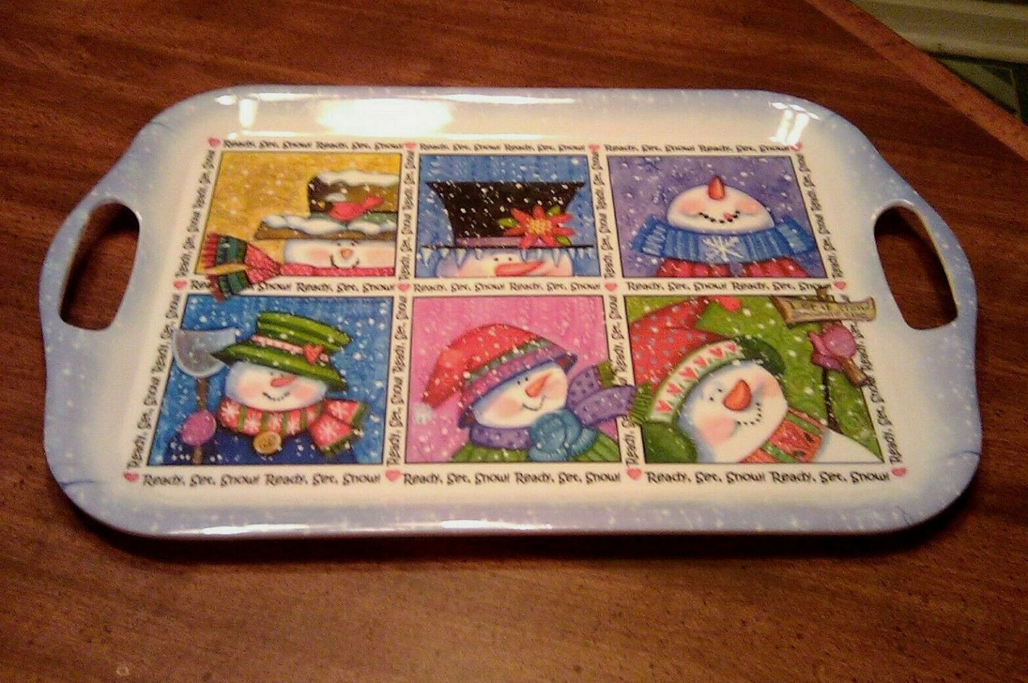 Ready Set Snow Blue Snowman Serving Tray