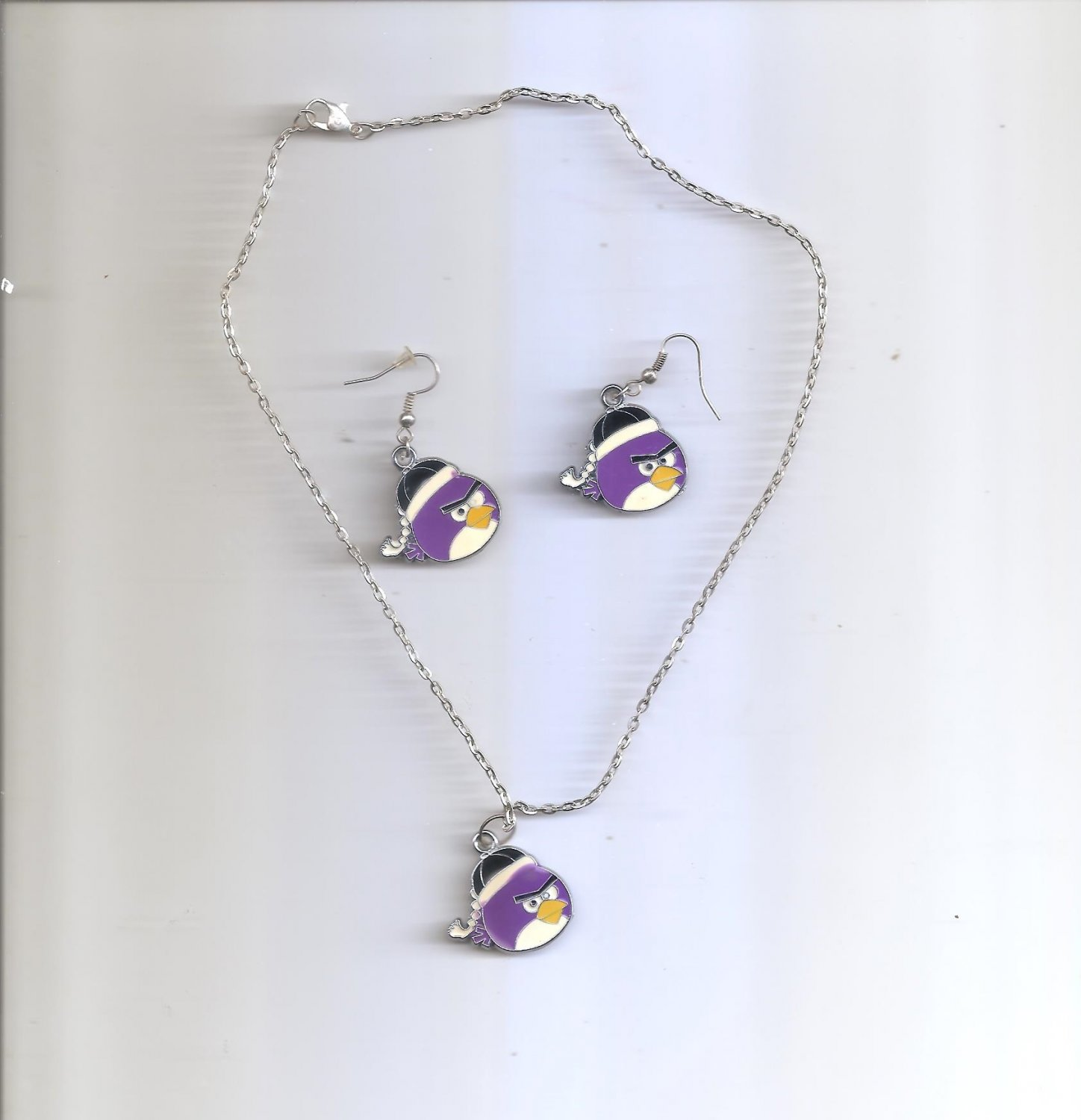 Angry Bird Purple Necklace & Earring Set