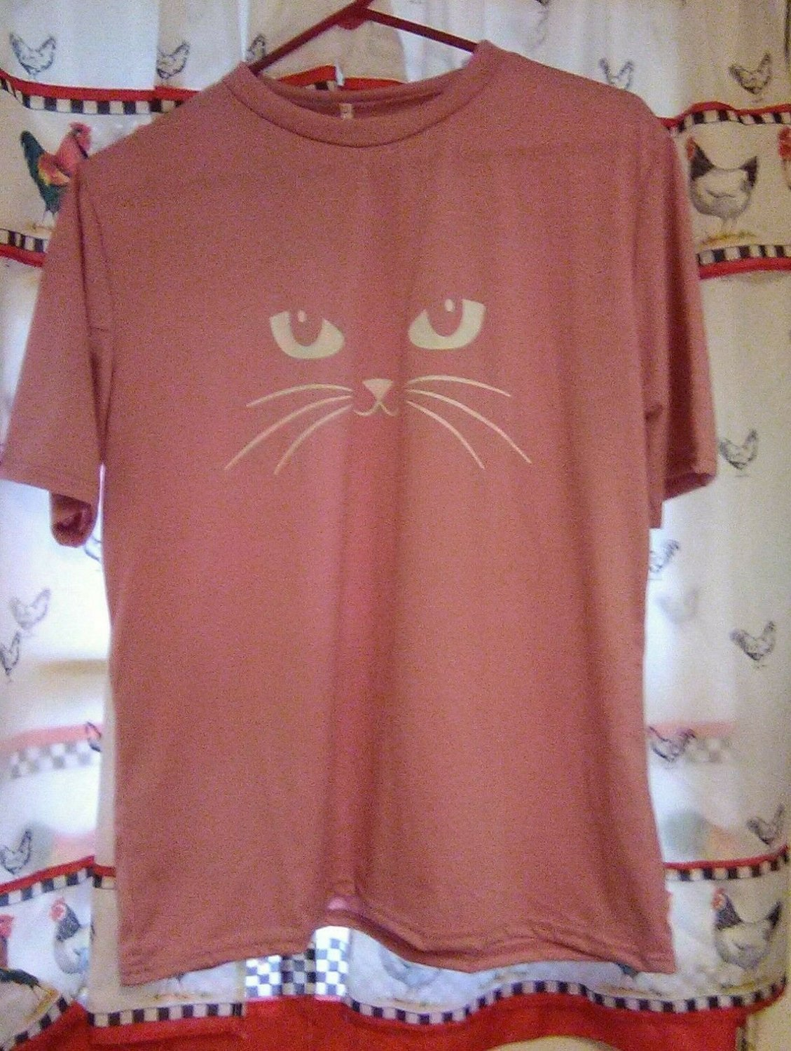 Pink Kitty Eyes Blouse Large Short Sleeves Free Shipping