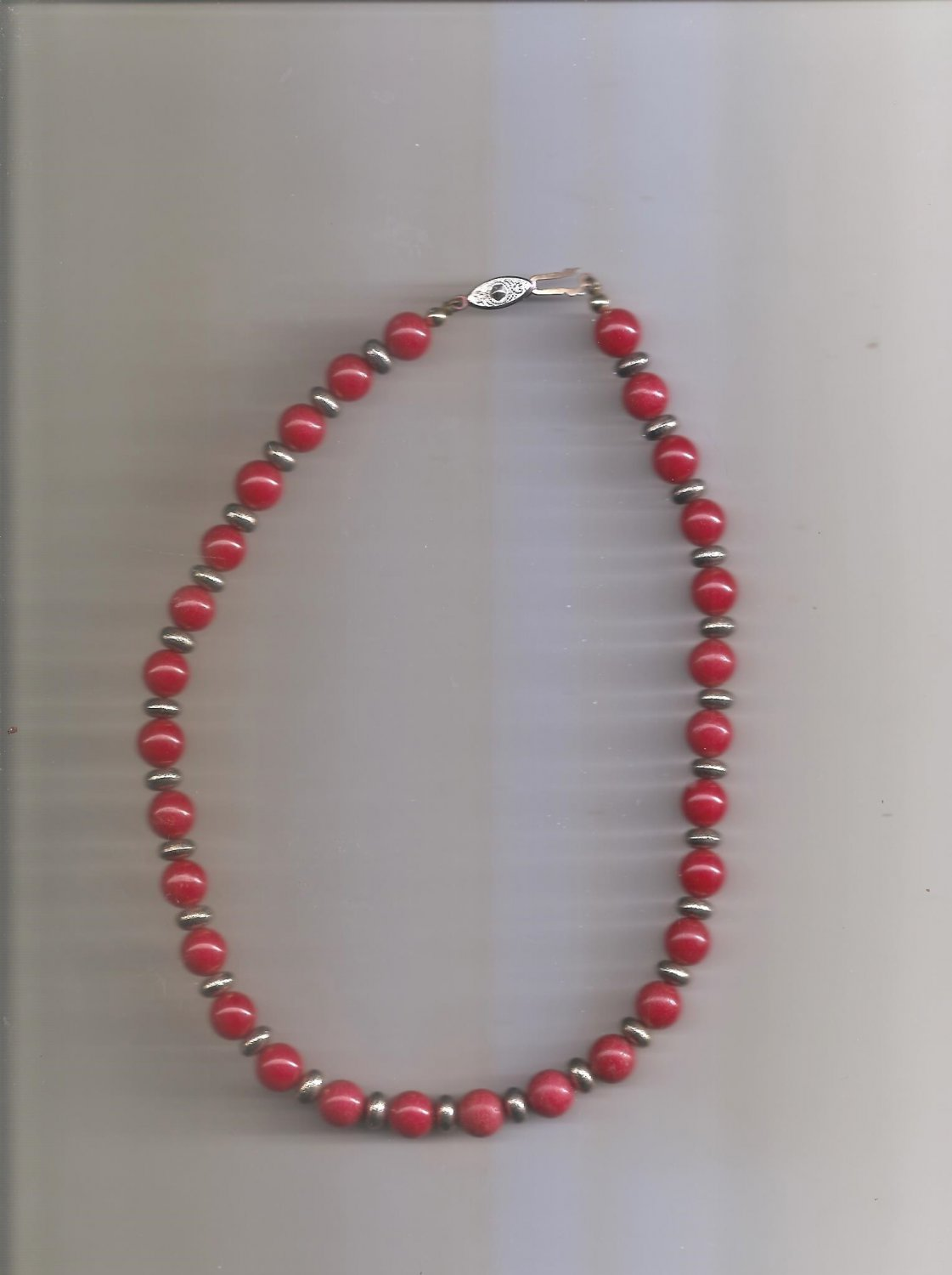Red Gold Beaded Necklace 16'  Long