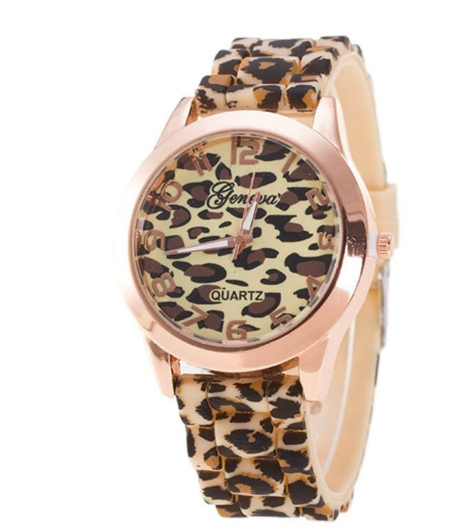 Women's Leopard Silicone Band  Casual Wrist Watch