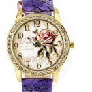 Women's Crystal Flower Rose Purple Leather Wrist Watch