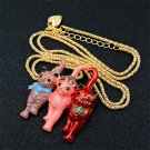 Betsey Johnson Pink  Cute Cat Pendant Necklace