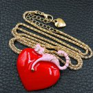 Betsey Johnson  Red/Pink Heart Cat Pendant Necklace
