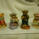 4 Bear Figurine Collection Mom & Pop Boy & Girl 6 Inches Tall