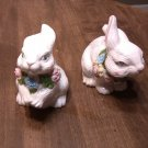 2 Large White Rabbit Figurines Pink,Blue,Yellow Green Flowers