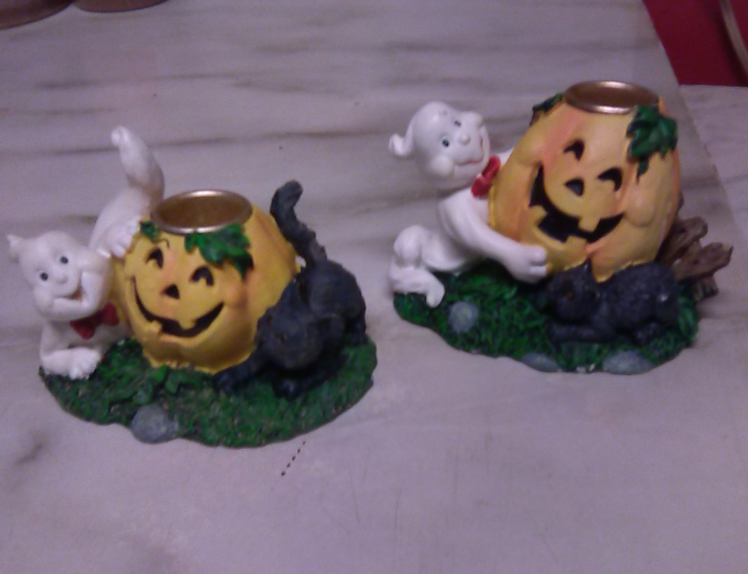 2 Halloween Ghost Pumpkin Black Cat Porcelain Candle Holders